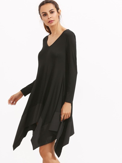 Black Asymmetrical Hem Dress