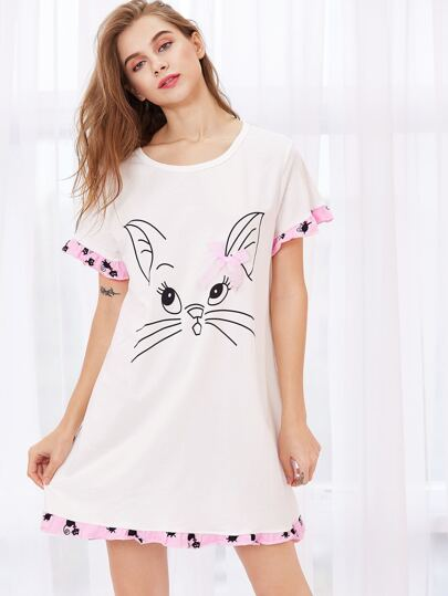 Cat Print Ruffle Trim Night Dress