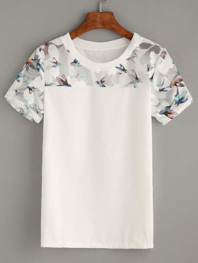 White Bird Print Mesh Insert Top