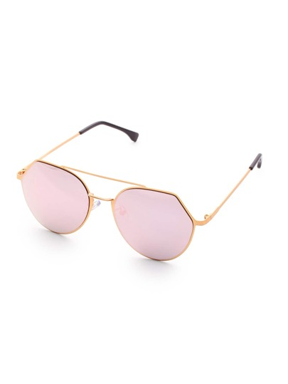 Double Bridge Pink Lens Sunglasses