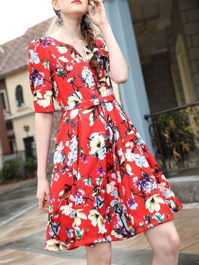 Red V Neck Backless Belted Print Dress