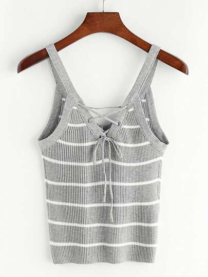 Striped Double V Neck Lace Up Knit Cami Top