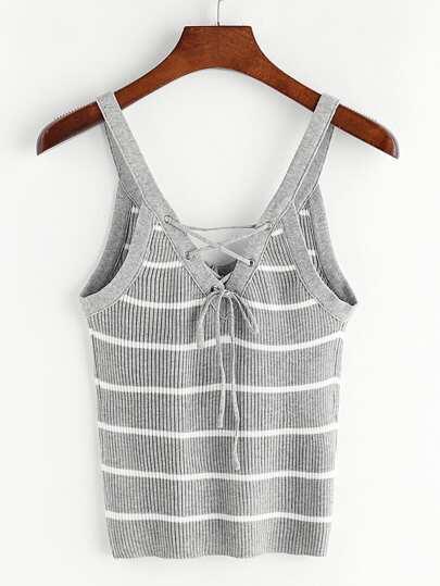 Top de punto de rayas con cordones y cuello en V - gris