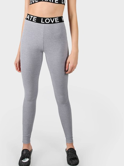 Ribbed Love Hate Leggings GREY