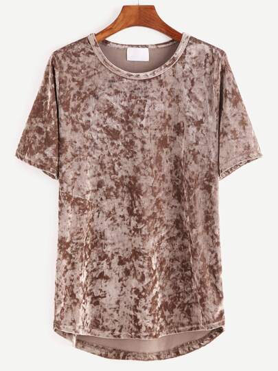 Khaki Short Sleeve High Low Velvet T-shirt