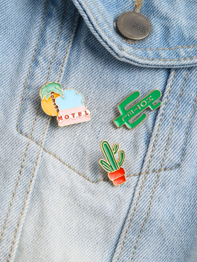 Green Cactus Shape Cute Pin Set