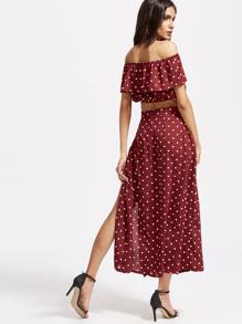 Textured Dot Ruffle Crop Top With Split Skirt