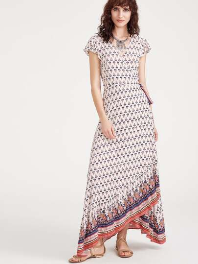 Ornate Print Flutter Sleeve Surplice Wrap Dress