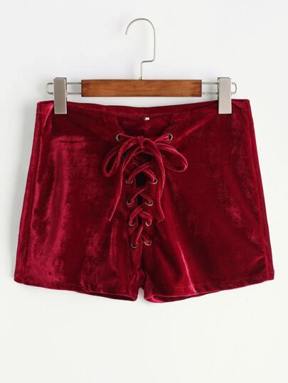 Borgogna Velvet Lace Up Front Shorts