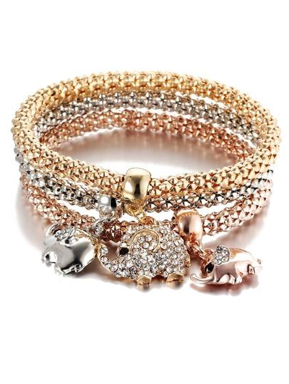Set brazalete con adornos de elefante con pedrería