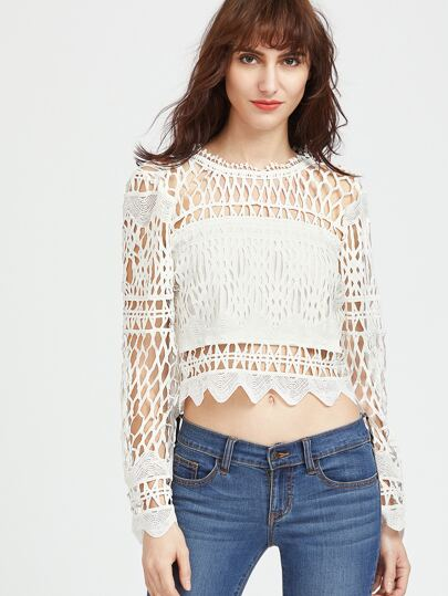 White Hollow Out Zipper Back Lace Top