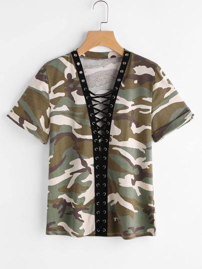 Camo Print Roll Sleeve Eyelet Lace Up Plunging Tee