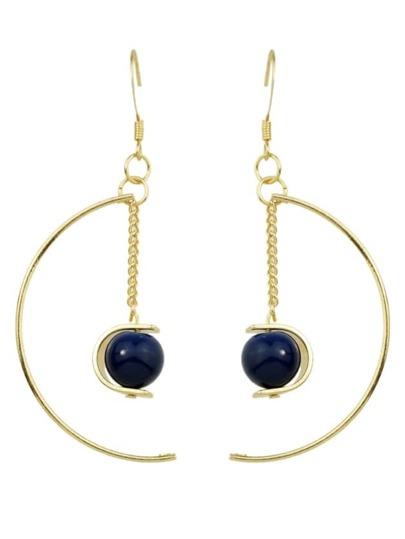 Blue Color Turquoise Big Moon Shape Dangle Earrings
