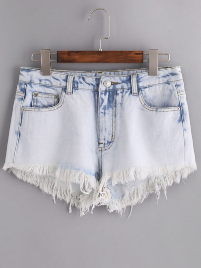 Cloud Wash Frayed Denim Shorts