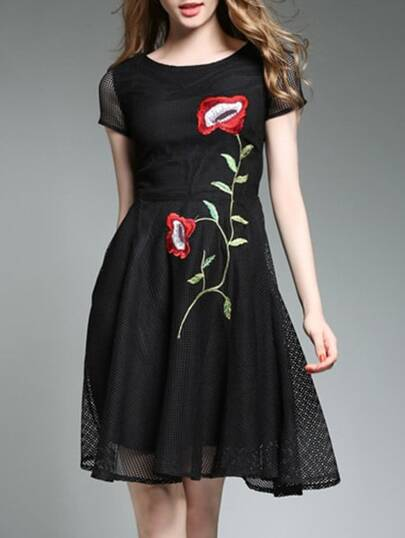 Flowers Embroidered Mesh Dress