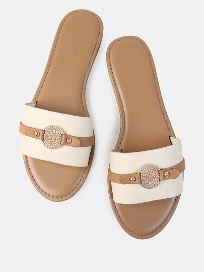 Coin Single Band Canvas Slides TAUPE