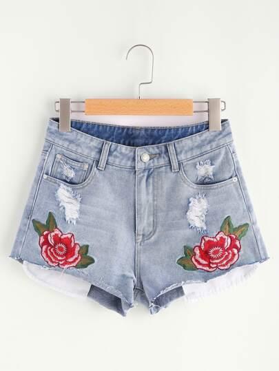 Bleach Wash Flower Embroidered Raw Hem Denim Shorts
