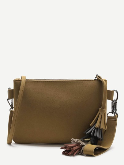 Brown Tassel Detail Clutch Bag With Strap