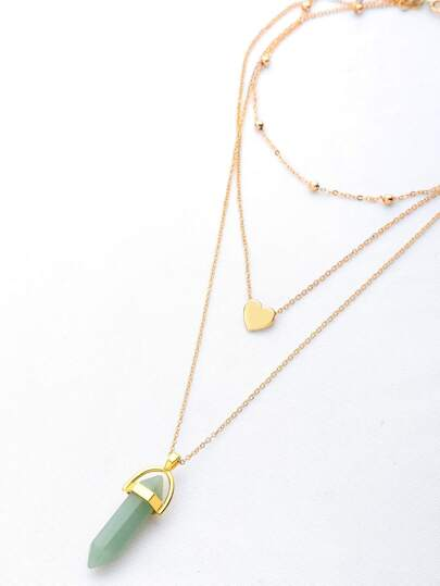 Faux Stone Gem Layered Chain Necklace