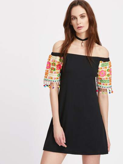 Bardot Contrast Embroidered Pom Pom Trim Dress