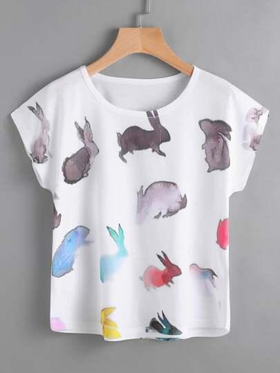 T-Shirt mit Dolmanärmeln und Wasserfarb Malerei
