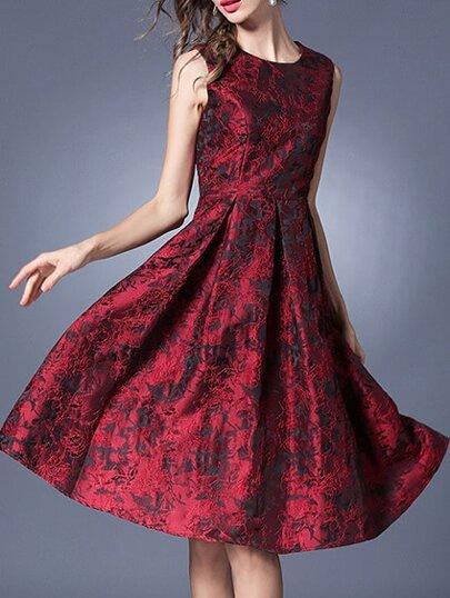 Red Crew Neck Jacquard A-Line Dress