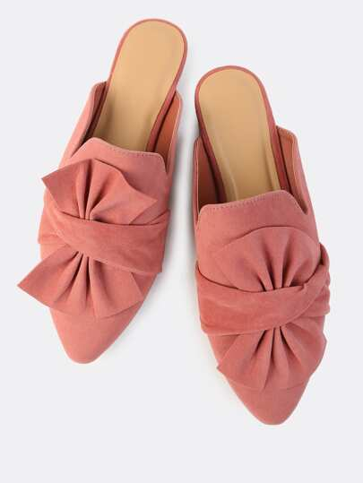 Faux Suede Bow Slip On Flats MAUVE