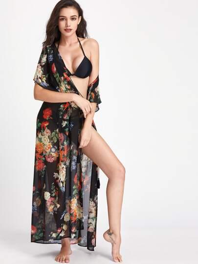 Kimono con estampado con abertura alta