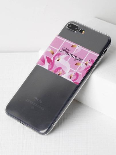 Cover per iphone 7 plus con stampa di fenicottero