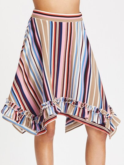 Frill Detail Striped Handkerchief Skirt