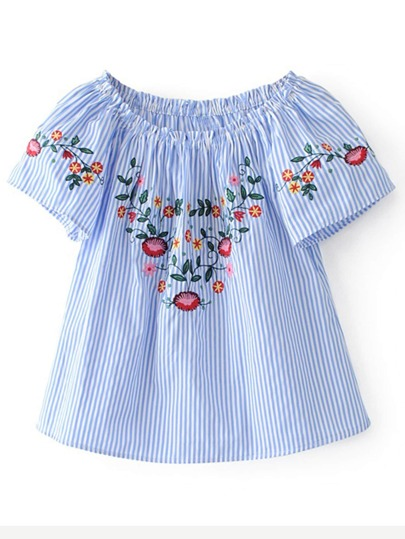 Boat Neckline Vertical Striped Embroidery Blouse