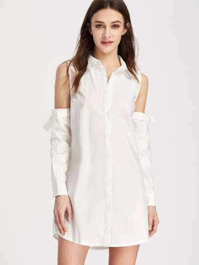 Open Shoulder Tie Sleeve Shirt Dress