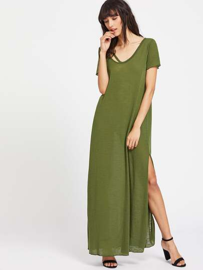 Olive Green Strappy Scoop Neck Side Slit Tee Dress