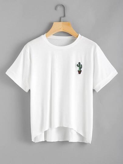 T-Shirt mit Kaktusstickereien
