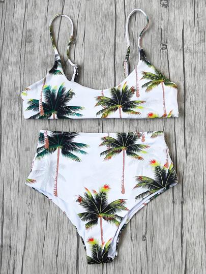 Palm Tree High Waist Bikini Set