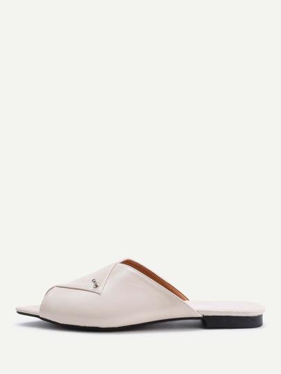 Sandales à fond plat à bout ouvert en PU