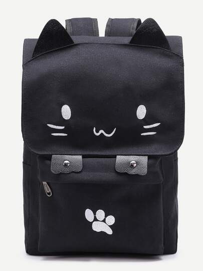 Cute Cat Shaped Canvas Backpack