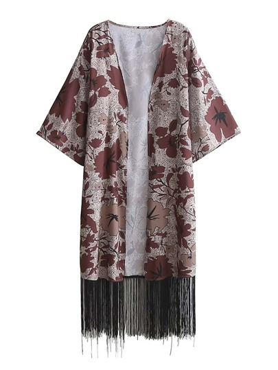 Kimono línea larga con estampado floral con espiga