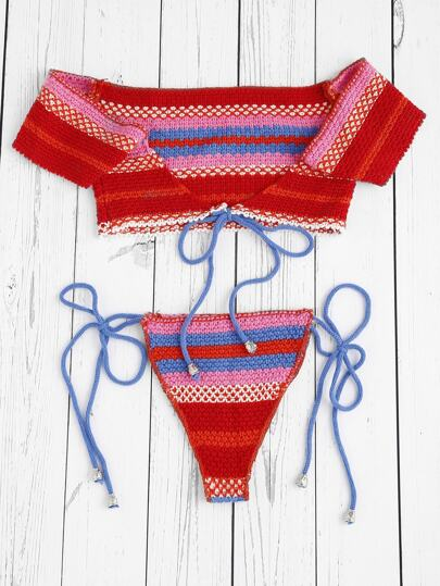 Striped Self Tie Knit Bikini Set