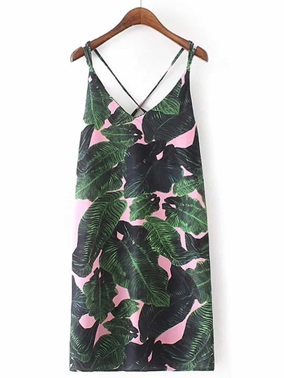 Tropical Print Criss Cross Back Cami Dress