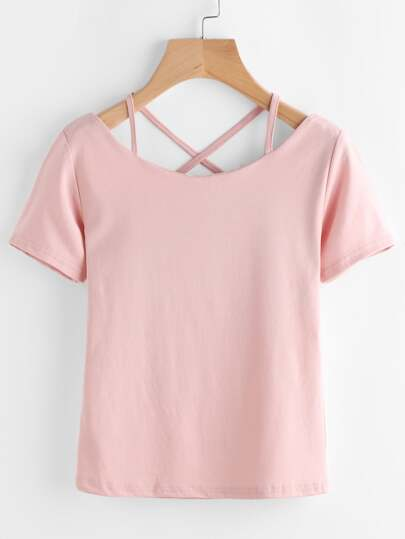 V Neckline Criss Cross Back Tee