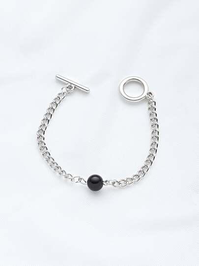 Braccialetto con catena contrasto con perle sintetiche