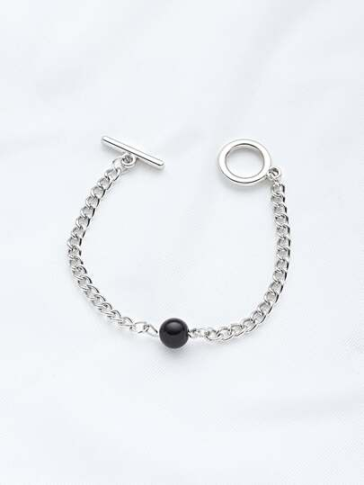 Contrast Faux Pearl Chain Bracelet