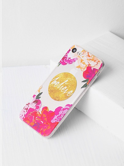Flower Print Clear iPhone 7 Case