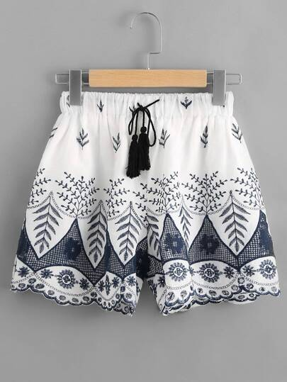 Embroidered Tassel Tie Shorts