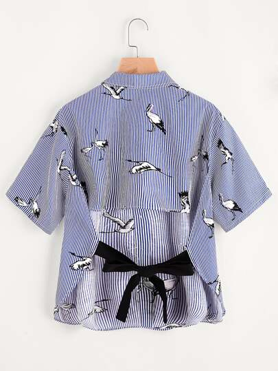 Bow Tie Open Back Crane And Stripe Print Shirt