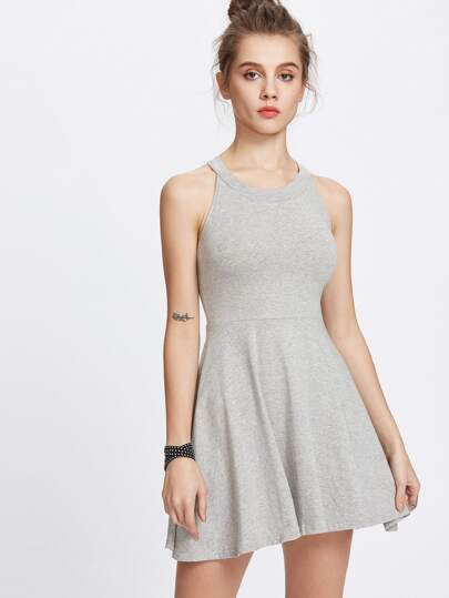 Gray Halter A-Line Dress Flare