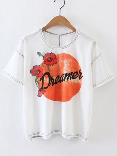 Flower Embroidery Striped Trim Tee
