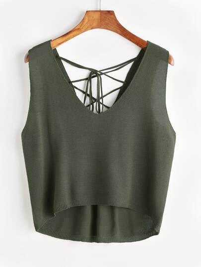 Lace Up Zurück Dip Hem Knit Tank Top