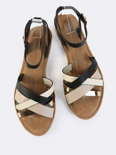 Multi Strap Ankle Sandals NEUTRAL